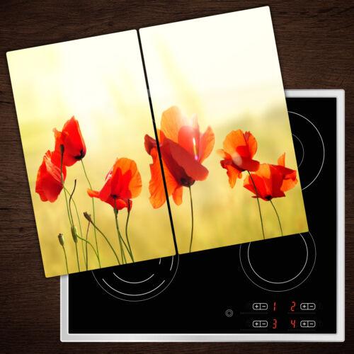 2x30x52 cm Herdabdeckplatten aus Glas Spritzschutz Mohn