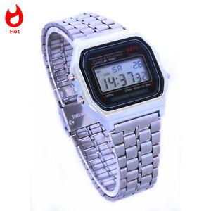 Retro-Digitaluhr-Armbanduhr-Digital-Herren-Damen-Uhr-NEU-silber-mit-Beleuchtung