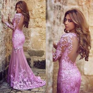 Details About Purple Lace Mermaid Evening Prom Dress Party Homecoming Formal Gown Custom Made