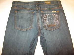 David Kahn Nikki Mid Rise Bootcut Jeans Sz 28 Crystal Pockets Dark Blue