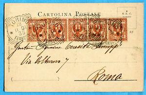 1901 Flo.c.2 Striscia Di Cinque Ann.torino, 12.11.01 Su Cart.in Tariffa(278598) Facile à RéParer