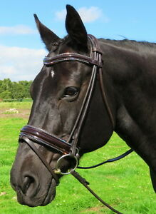 FSS-German-Curve-U-CRYSTAL-PIPING-EDGE-BLING-Rolled-Comfort-PATENT-HAVANA-Bridle