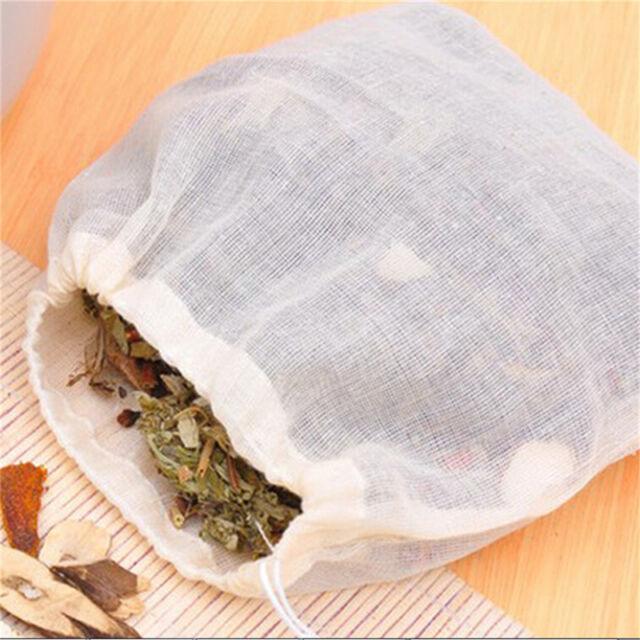 10 Pcs 8x10cm Large Cotton Muslin Drawstring Reusable Bags for Soap Herbs Tea vK
