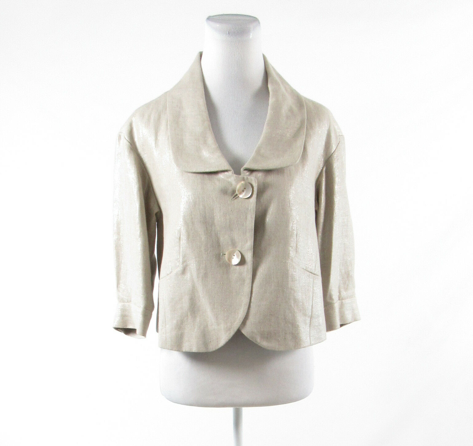 Light beige 100% linen WORTH shimmery 1/2 sleeve jacket 4