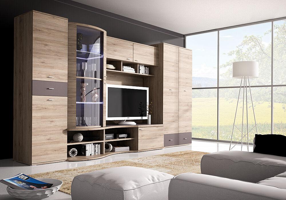 Details Zu Wohnwand Mit Kleiderschrank 80cm Anbauwand Wohnzimmer Set 5 Tlg Tv Schrank