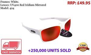 612 RayZor Uv400 White Sports Wrap Sunglasses Vented Blue Mirrored Lens RRP£49