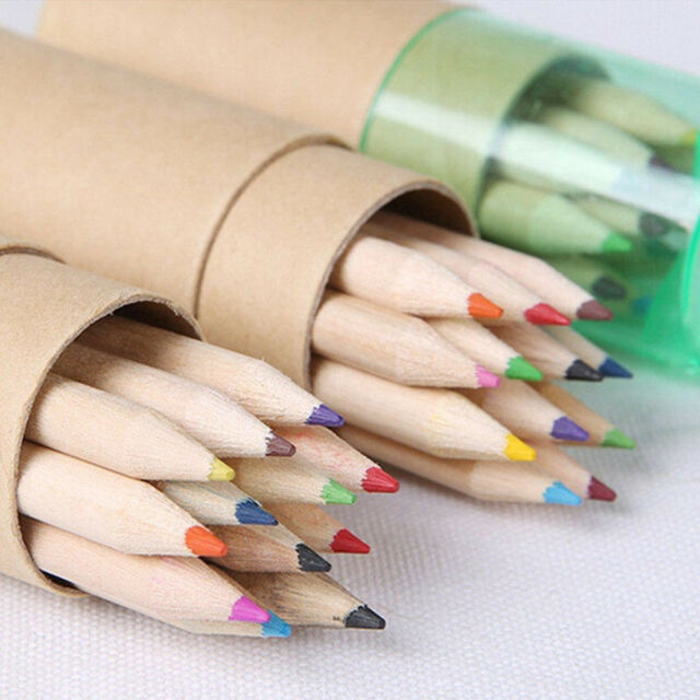 Kids Wooden 12 Colors Pencils Writing Painting Colored Pencils With Sharpener