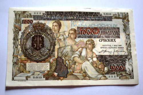 1000 dinars Yugoslavia 1941 banknote