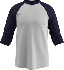 Champro Youth 3//4 Sleeve Cotton Baseball Jersey WhiteNavy Ylg