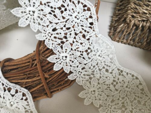 """Stunning 3/""""//7.5cm Ivory Cream Guipure Flower Edge Lace Trim.Crafts//Bridal//Sewing"""