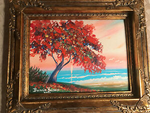 """Nice Bunnie Brown """"Florida Ocean And Landscape Scene"""" Oil Painting-Signed/Framed"""