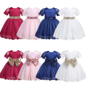 6ff9a727d34 Image is loading Baby-Girls-Tutu-Dress-Sequined-Bowknot-Princess-Toddler-