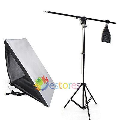 50x70cm Video Studio E27 Lamp Softbox + Photography LightStand +Boom Arm Kit