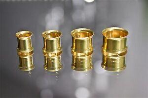 Tunnel-Plug-Flesh-Piercing-Double-Flared-Ohr-Ohrschmuck-gold