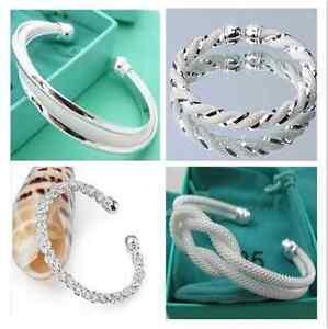 New-Fashion-Jewelry-Wholesale-Womens-925Silver-Bangle-Bracelet-Chain-gifts