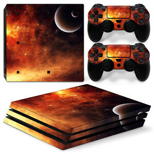 Energetic Sony Ps4 Playstation 4 Pro Skin Aufkleber Schutzfolie Set Universe Motiv Drip-Dry Faceplates, Decals & Stickers Video Game Accessories