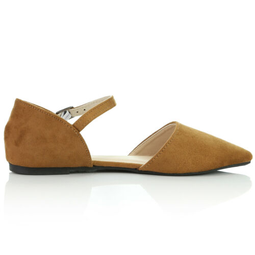DailyShoes Pointy Almond Toe D/'Orsay Buckle Ankle Strap Ballerina Ballet Flats