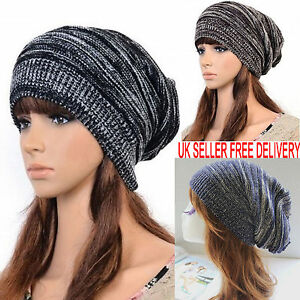 Mens-Ladies-Knitted-Woolly-Winter-Oversized-Slouch-Beanie-Hat-Cap-Unisex