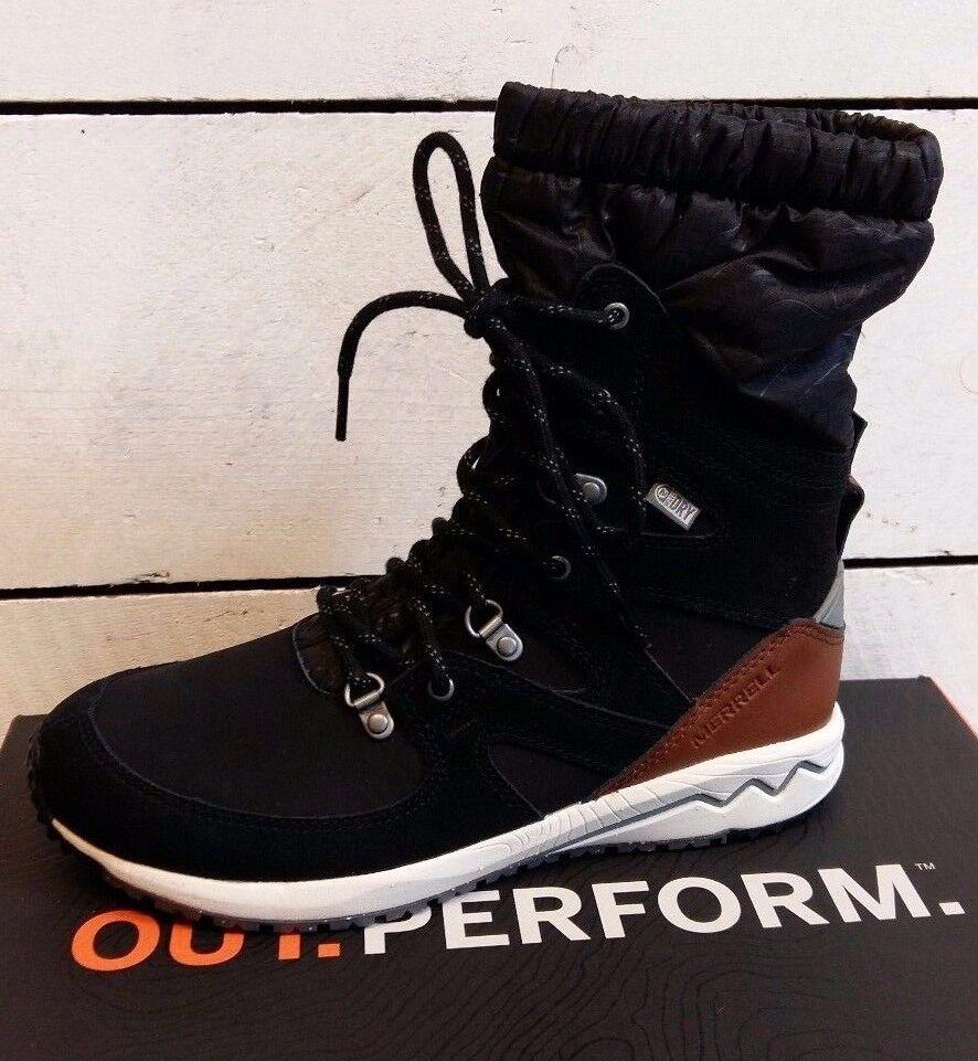Ladies Merrell Stowe Black Lace Up Waterproof Boots