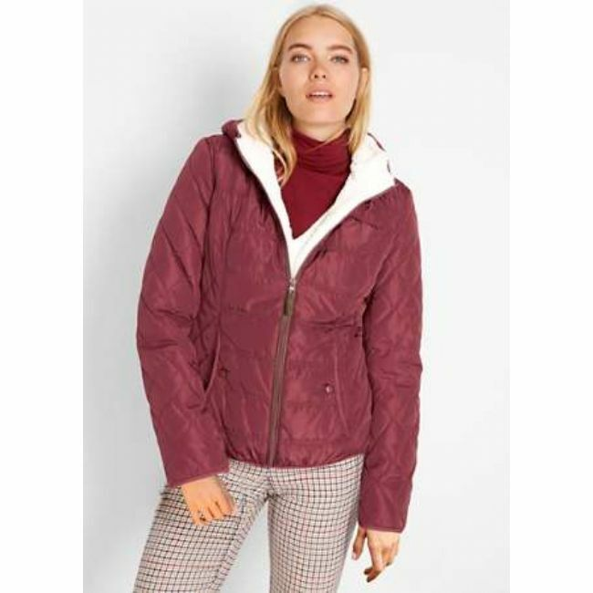 Size 8 Burgandy Lightly Padded Jacket Coat Hooded Fleece Lined New