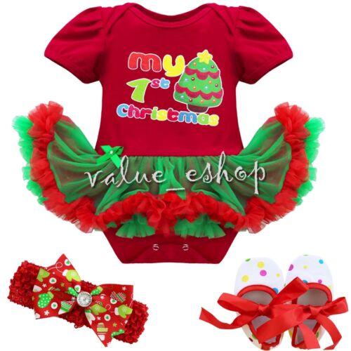4PCS Newborn Baby Infant Girls Christmas Romper Headband Tutu Dress Outfit 0-12M