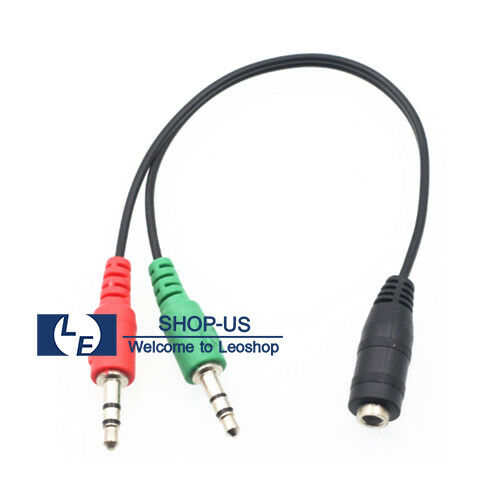New 3.5mm Female to 2 Male Y Splitter Adapter Mic Audio Stereo Headphone Cable