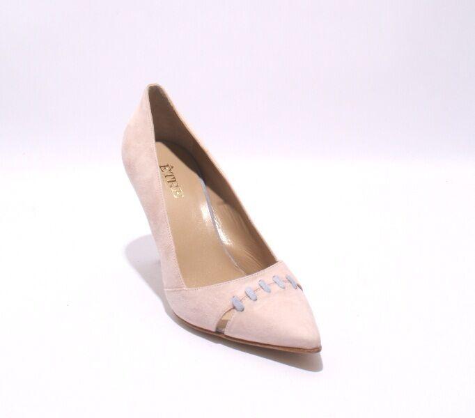 Etre 1015 Dusty pink   bluee Suede   Cutouts Pointy-Toe Heel Pump 36.5   US 6.5