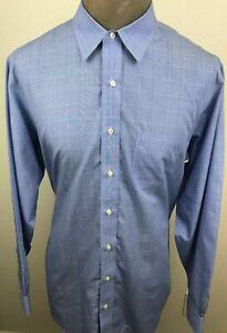 Brooks-Brothers-346-Regular-Fit-Men-039-s-Dress-Shirt-Blue-Check-Long-Sleeve-17-6-7