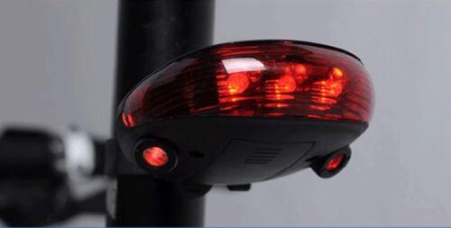 Rear Tail Flashing Safety Warning Lamp Night 5 LED /& 2 Laser Bike Bicycle Light