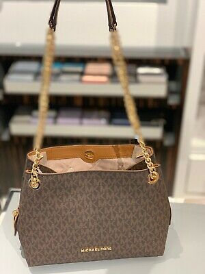 Michael Kors Small Medium Leather Chain Messenger Shoulder Purse Bag Brown Gold 192877336198   eBay