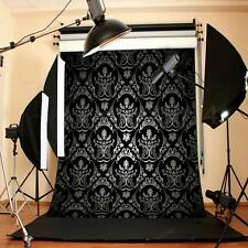 5x7FT Black Retro Damask Vinyl Studio Photography Backdrop Photo Background Prop