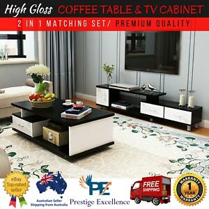 Piece High Gloss TV Cabinet Coffee Table Combo Premium Quality - Coffee table tv stand combo