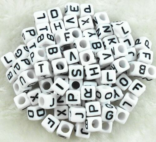 50Pcs Acrylic 6mm SINGLE LETTER A-Z White Cube ALPHABET SPACER LOOSE BEADS