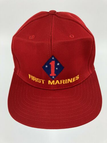 Vintage First Marines Snapback Red Hat Embroidered