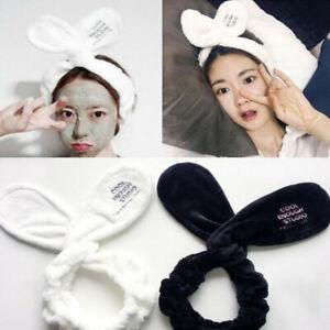 Women Girls Rabbit Ear Hair Band Bath Spa Makeup Wrap Wash Face Elastic Headband