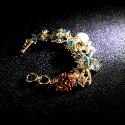 Bracelet Chain Golden Star Sea Shell Fish Coral Blue Green Red CT11