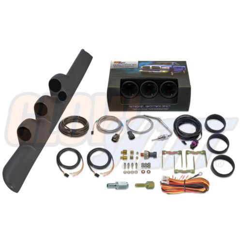 GlowShift T7 Boost EGT Fuel Press Gauges Gray Pod for 98-02 Dodge Ram Cummins