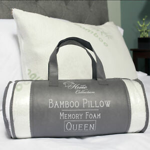 Sweet Home Hypoallergenic Bamboo Memory Foam Pillow Queen 2 Pack w/Carry Bag