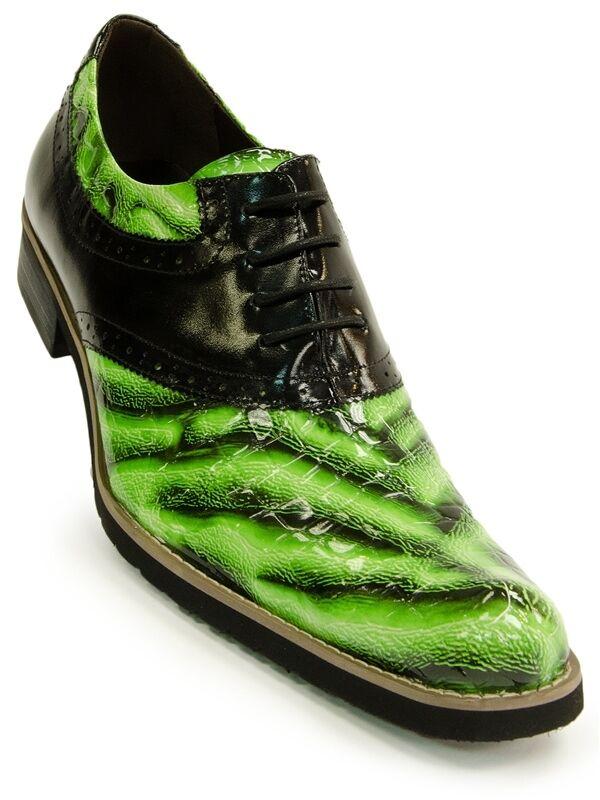 Fiesso Hombre verde Negro Modelo Cebra Cuero con Cordones Gorra Punta