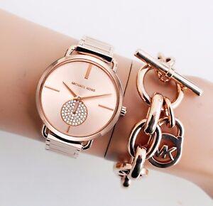 Original-Michael-Kors-Uhr-Damenuhr-MK3640-Portia-Farbe-Rose-Gold-Kristall-NEU