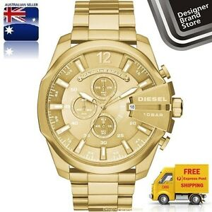New-Diesel-Mens-Watch-Mega-Chief-All-Gold-Tone-Stainless-Steel-Chrono-DZ4360