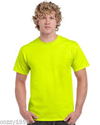 Plain Cotton Gildan Neon Safety Pink Yellow Orange Fluorescent T Shirt  upto 5XL