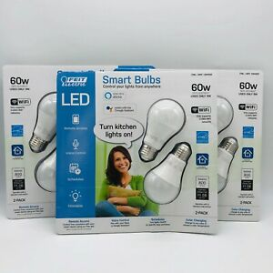 FEIT Electric Smart Wi-Fi LED Color Changing Dimmable 60W Light Bulbs 2-pk White