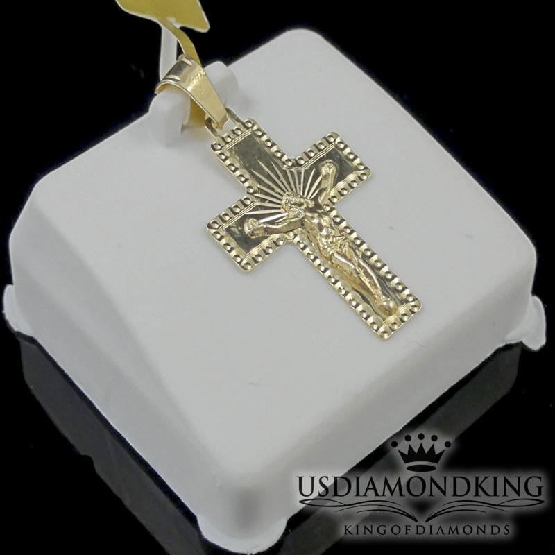 MEN'S LADIES NEW 100% REAL YELLOW gold CRUCIFIX JESUS CROSS CHARM PENDANT 1.25
