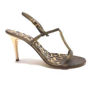 Scardavi Sandalo Gioiello Donna Elegante Tacco 85 bronzo cinturino Con Fibbietta