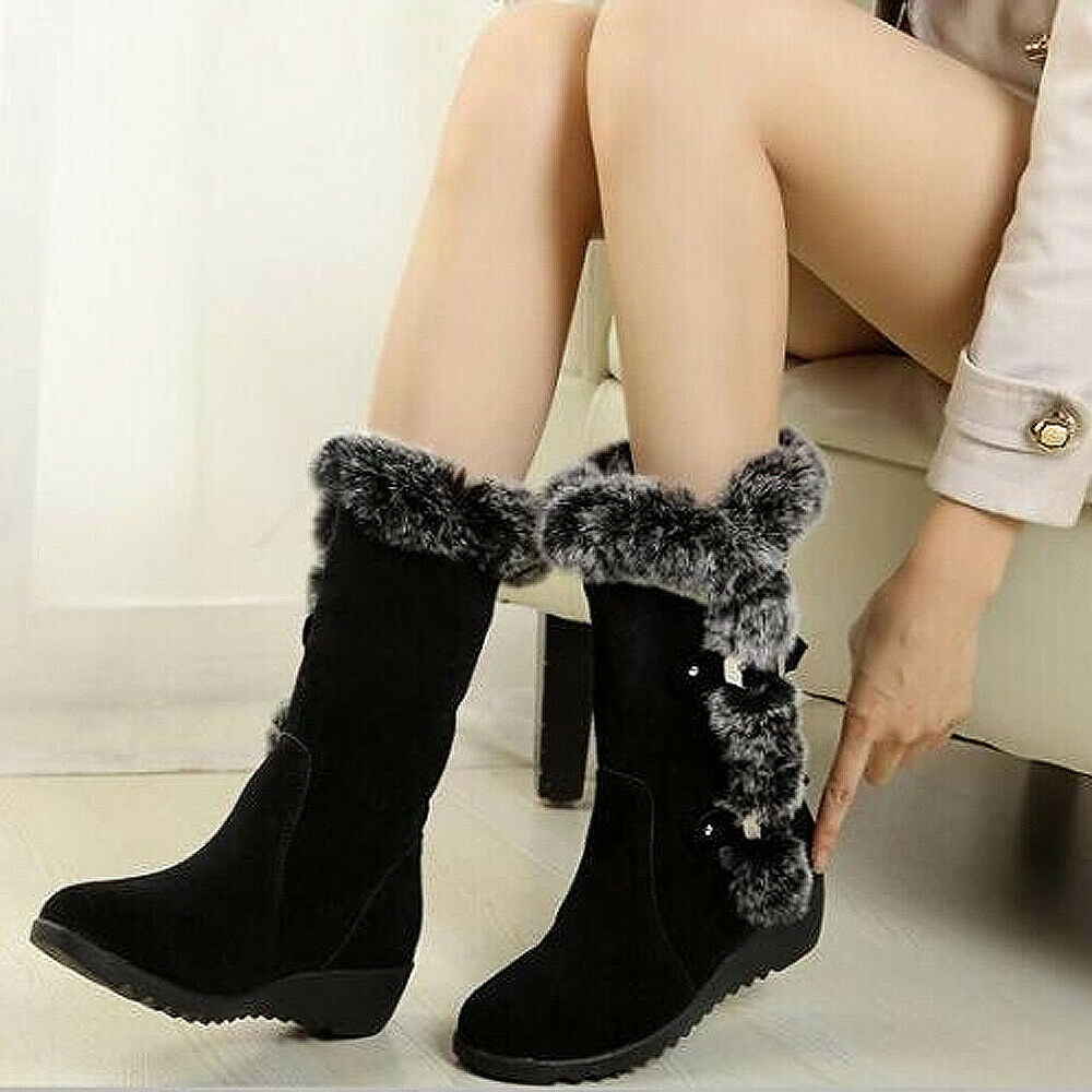 Women's Faux Fur Warm Mid Calf Plush Warm Winter Snow Boots-Size 6, 6.5, 7, 7.5