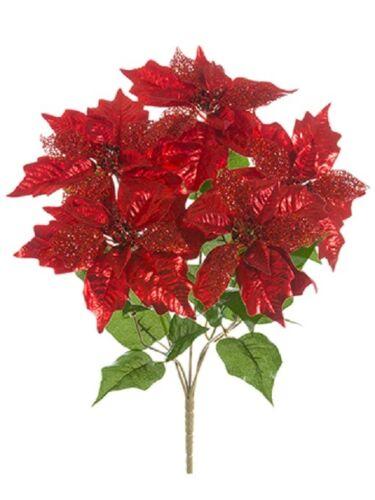 """Silk Flower Plant Decor Pack of 6 21/"""" Glittered Metallic Poinsettia Bush Red"""