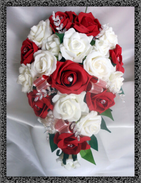 Brides Teardrop Bouquet Wedding Flowers Ivory & Red Roses With ...