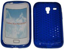 Per SAMSUNG GALAXY ACE PLUS GT S7500 PATTERN Gel Custodia Protettiva Cover blu nuova