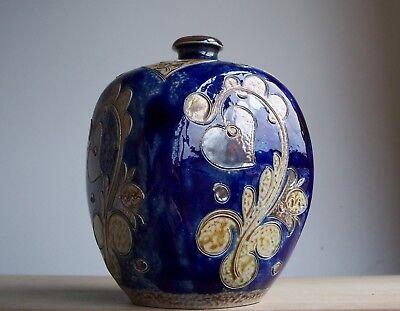 Vintage 1960s-1970s Elfriede Balzar German Pottery Sgraffito Vase Fat Lava Era